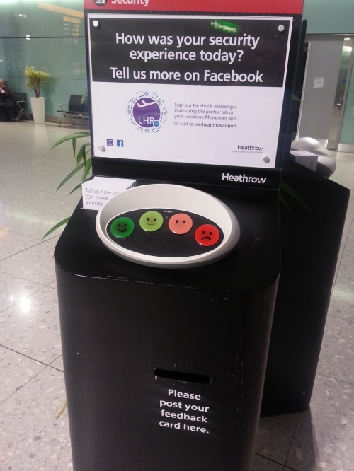 Smiley terminal at Heathrow airport